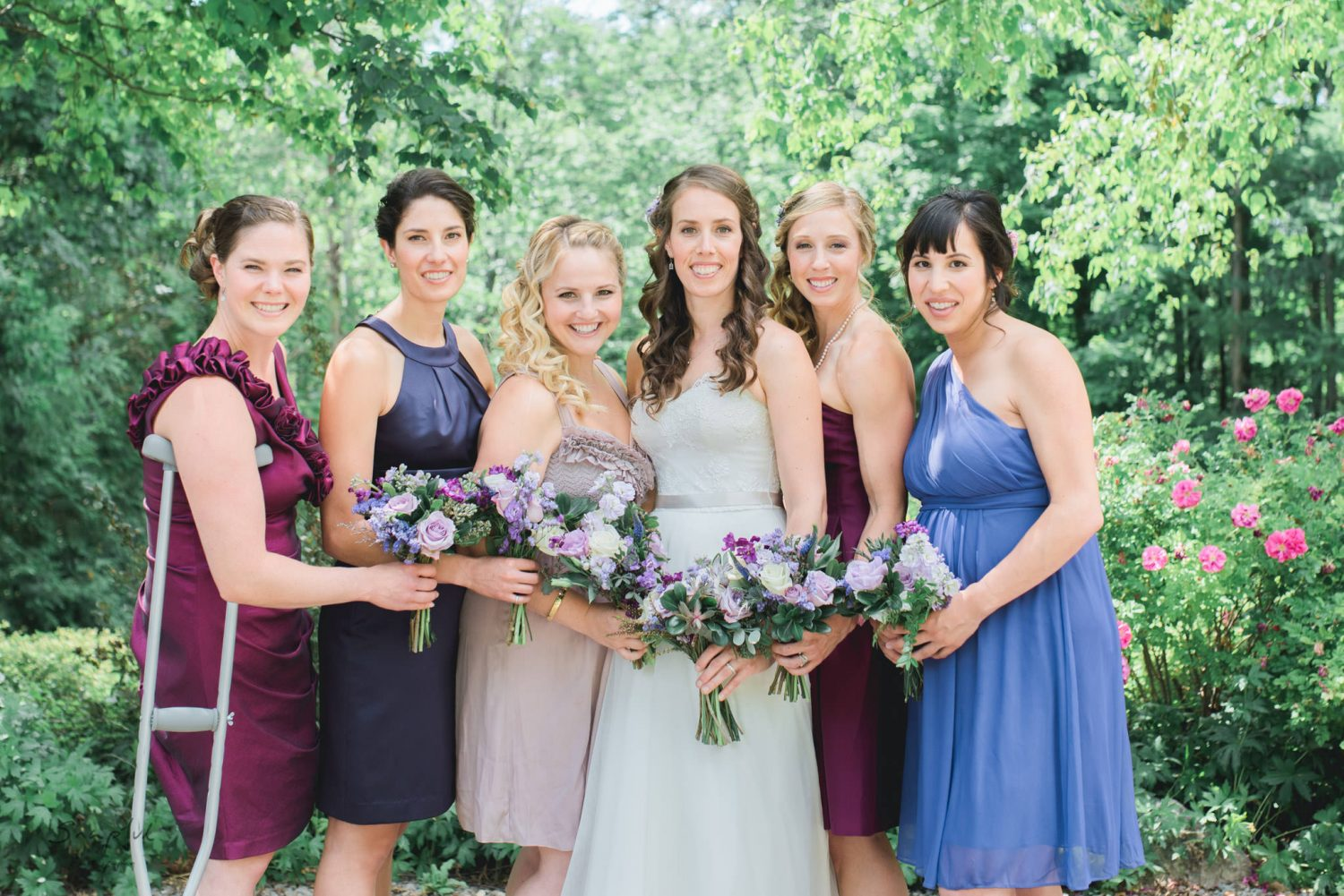 portrait of bride and her bridesmaids at Alton Mill Wedding