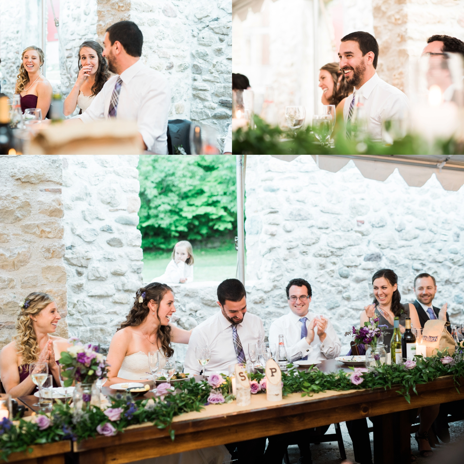 Wedding party share laughs at the head table at Alton Mill
