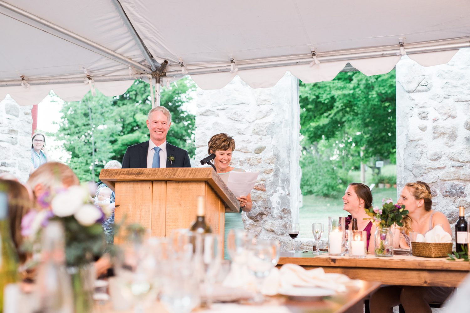 Father and mother of bride give a funny speech at Alton Mill