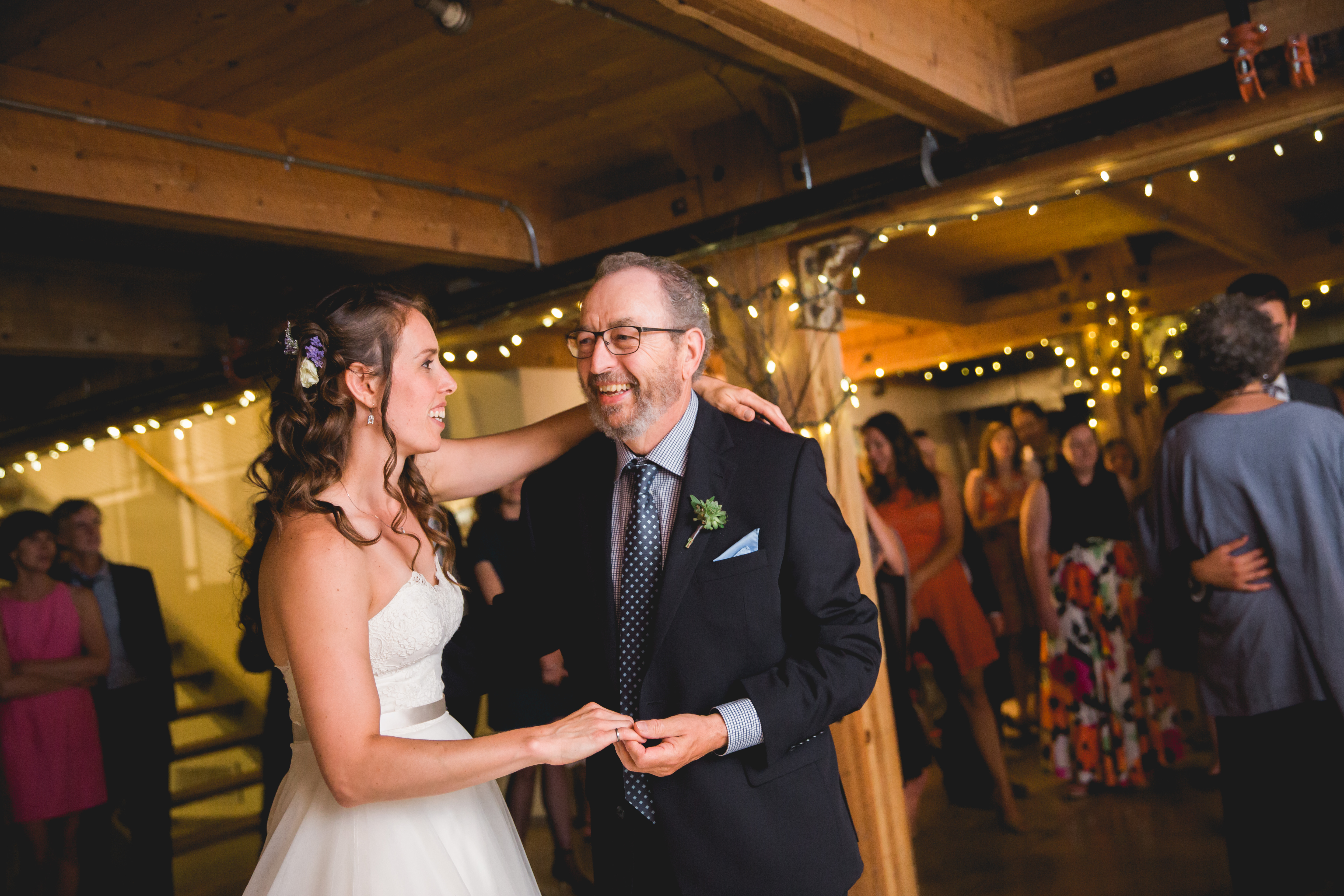 Bride dances with her father in law at Alton Mill wedding