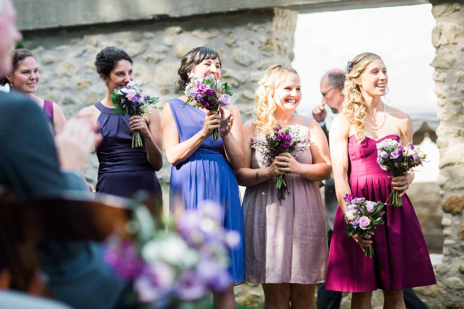 Bridesmaids react to the first kiss