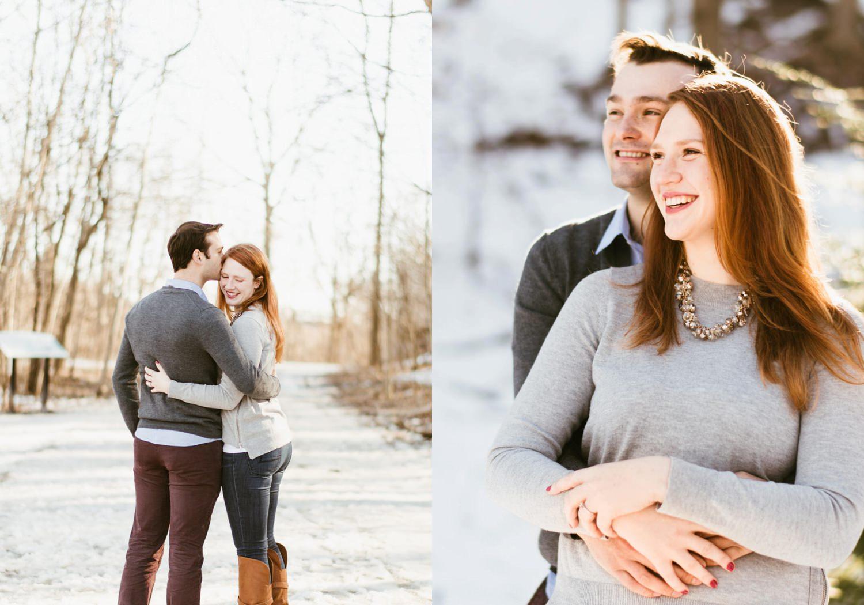 Matt hugging Isabel during engagement shoot in Toronto