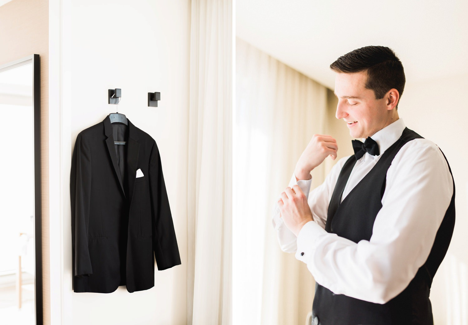 Groom getting ready for his Toronto elopement at Delta hotel in Toronto