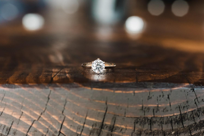 Macro shot of engagement ring at boxcar social Harbourfront