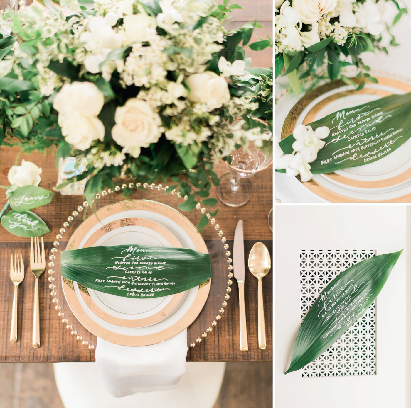 banana leaf menus at wedding table at Estates of Sunnybrook