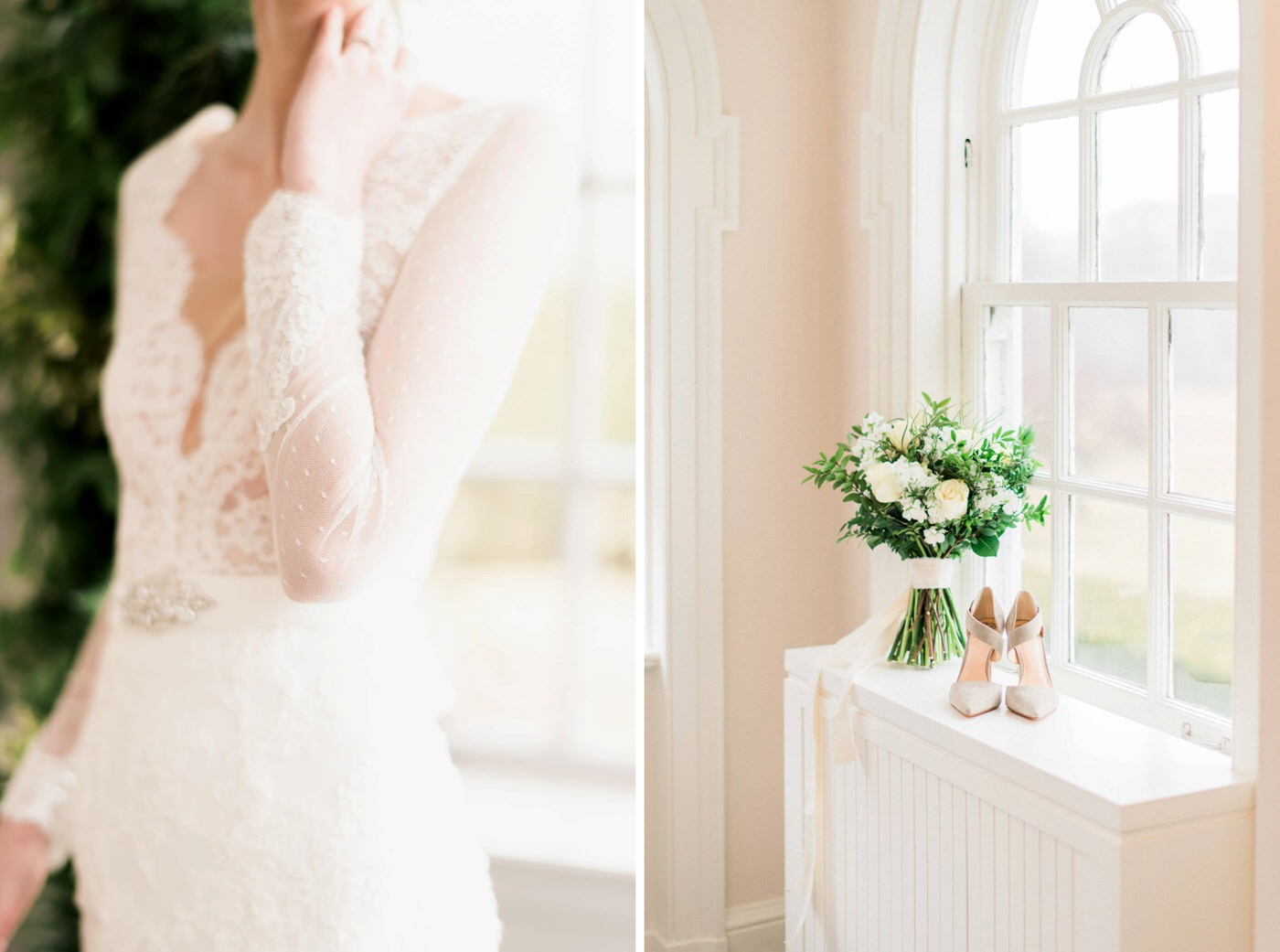 Detail shots of bouquet, bridal dress and shoes at Estates of Sunnybrook