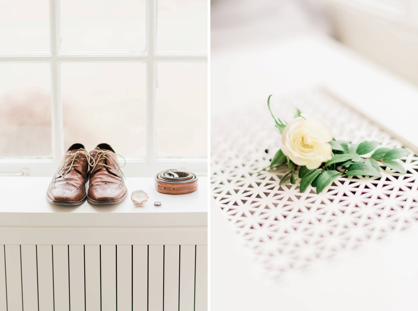 Detail shots of groom's boutonniere and shoes at the Estates of Sunnybrook wedding