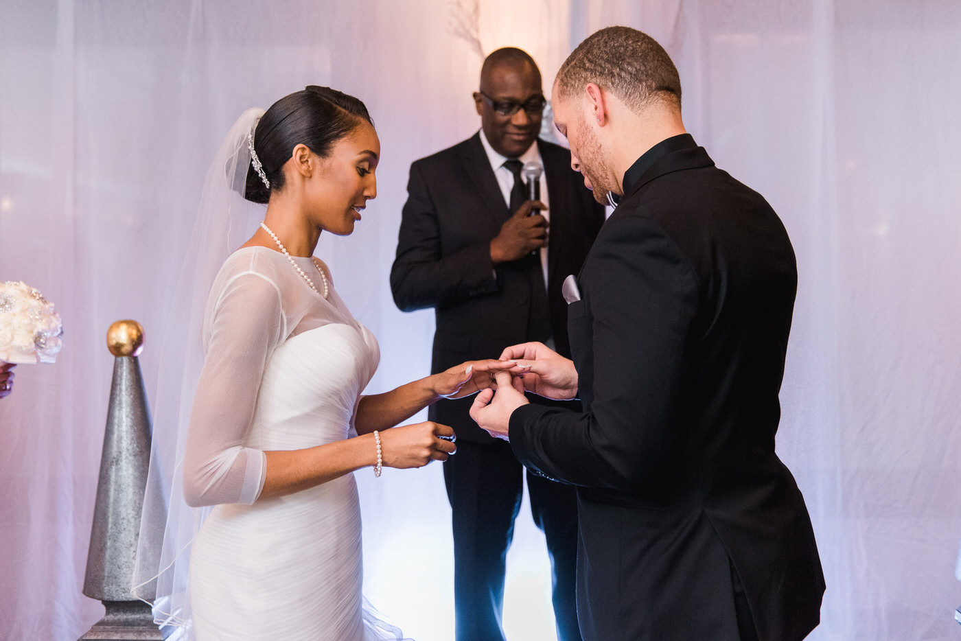 Exchange of rings at New Year's Eve wedding in Toronto