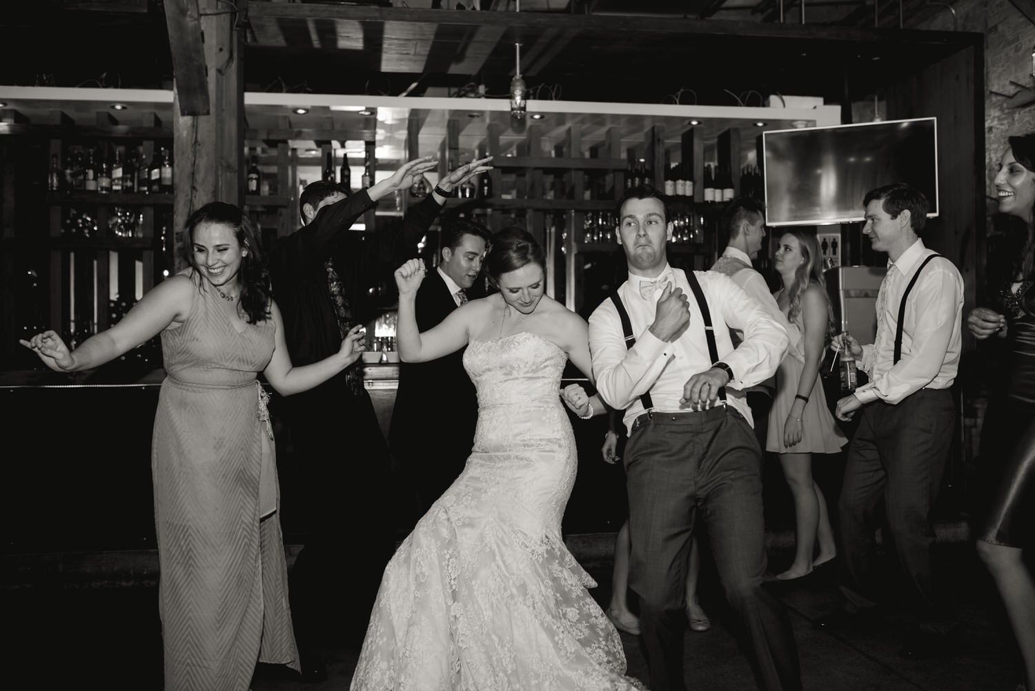Groom and bride dance off at Archeo in Distillery District