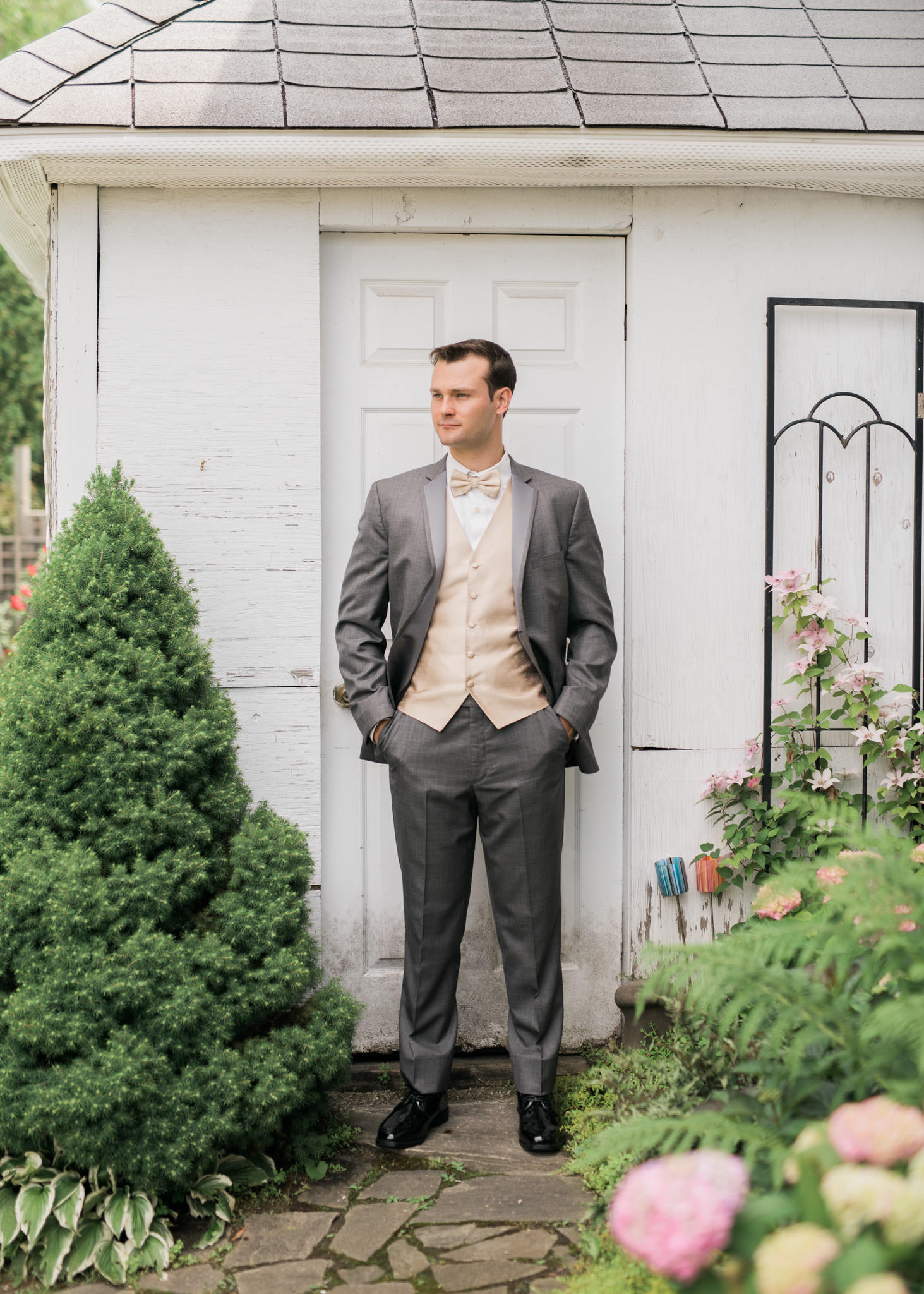 Groom portrait in his backyard