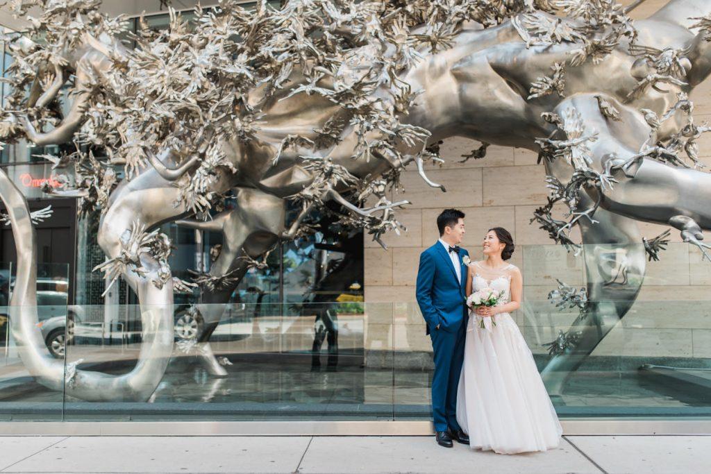 Bride and groom's first look at Shangri-La Hotel in Toronto