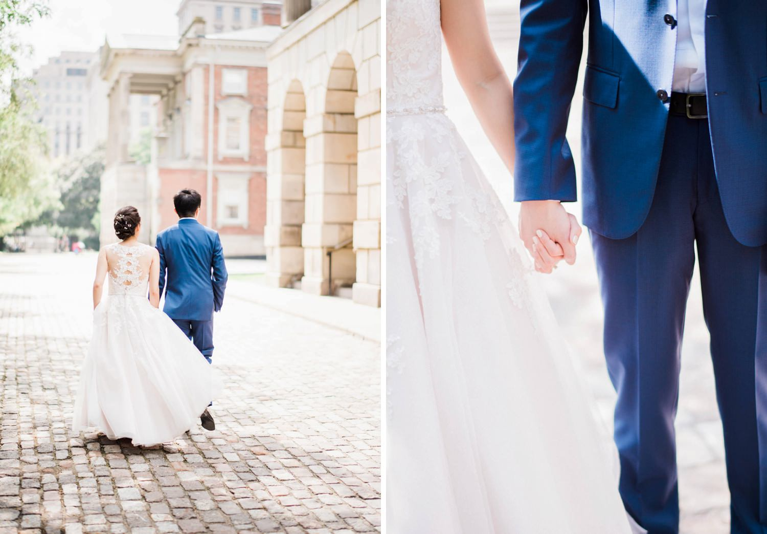 Bride and groom take a stroll through Osgoode Hall in Toronto Wedding
