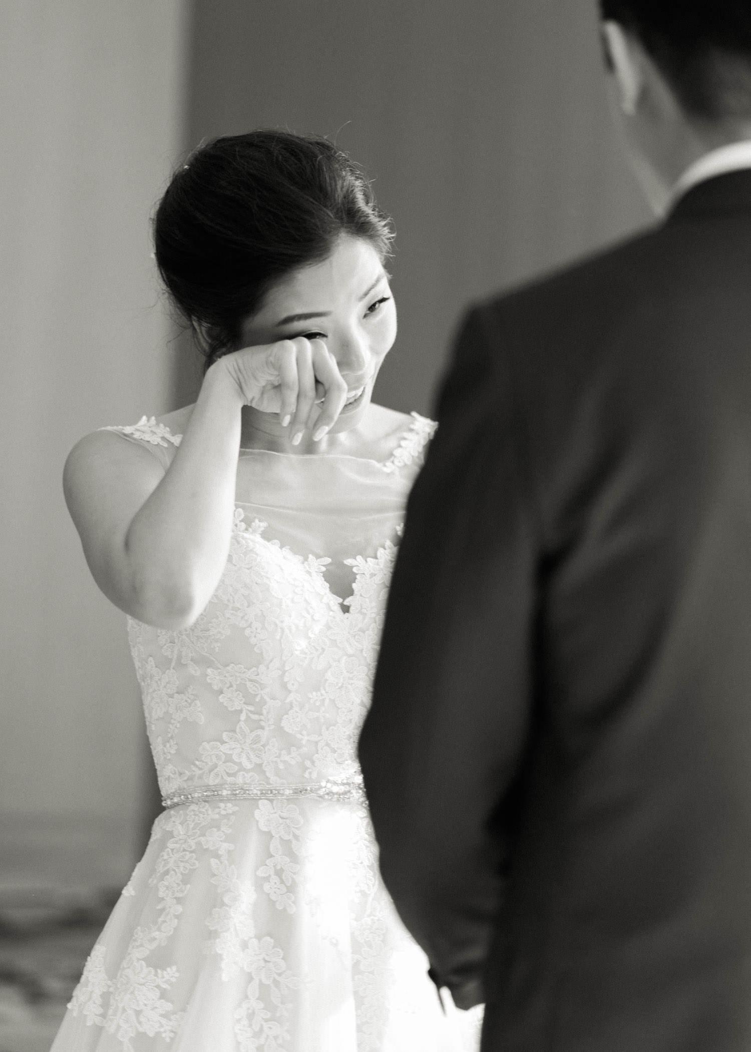 Bride cries during ceremony at Shangri-La hotel in Toronto wedding