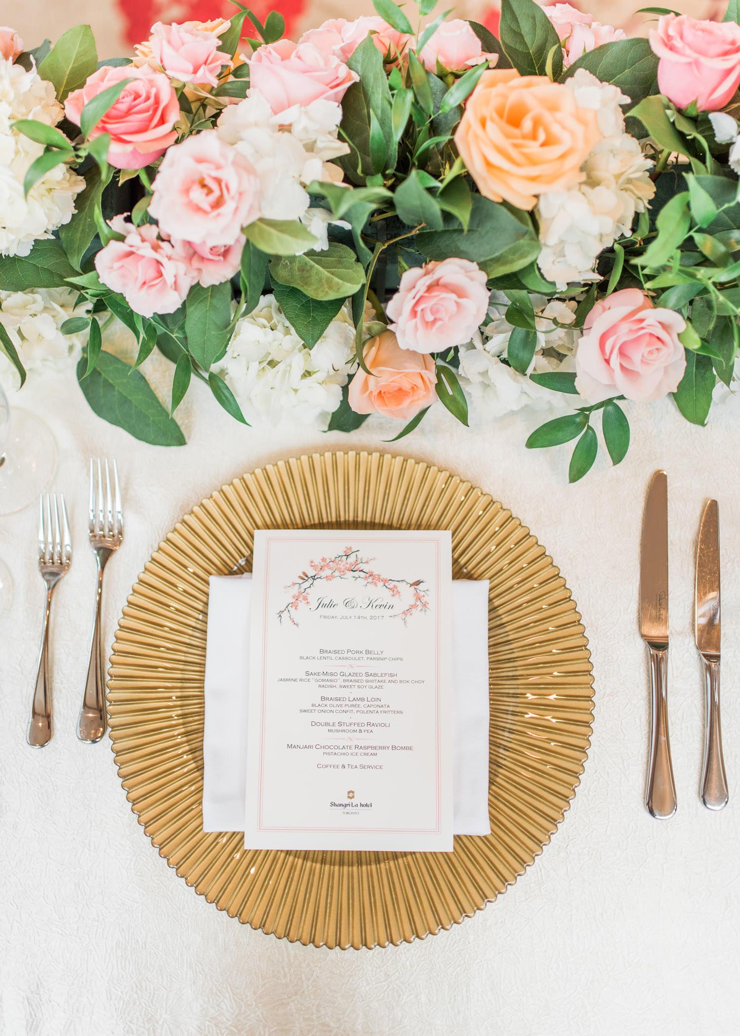 Elegant wedding reception at the Elegant wedding reception at Shangri-La Hotel in Toronto