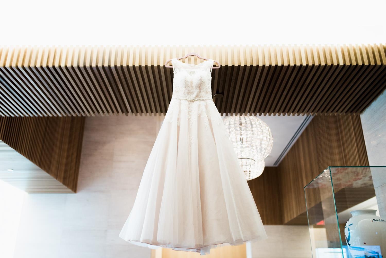 Wedding dress shot at the Shangri-La Hotel in Toronto