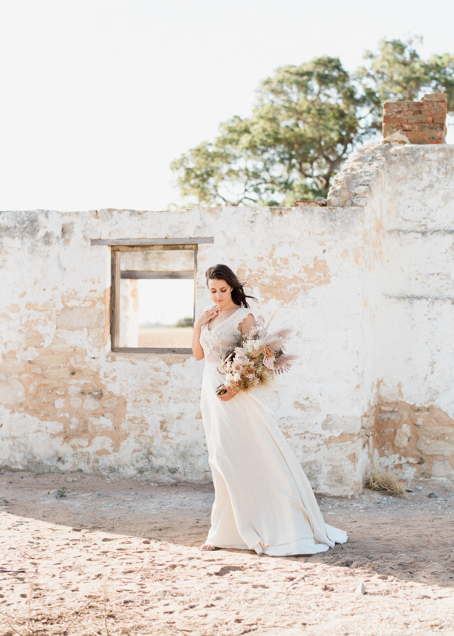 Portrait of bride at elopement in Perth at Perry's Paddock