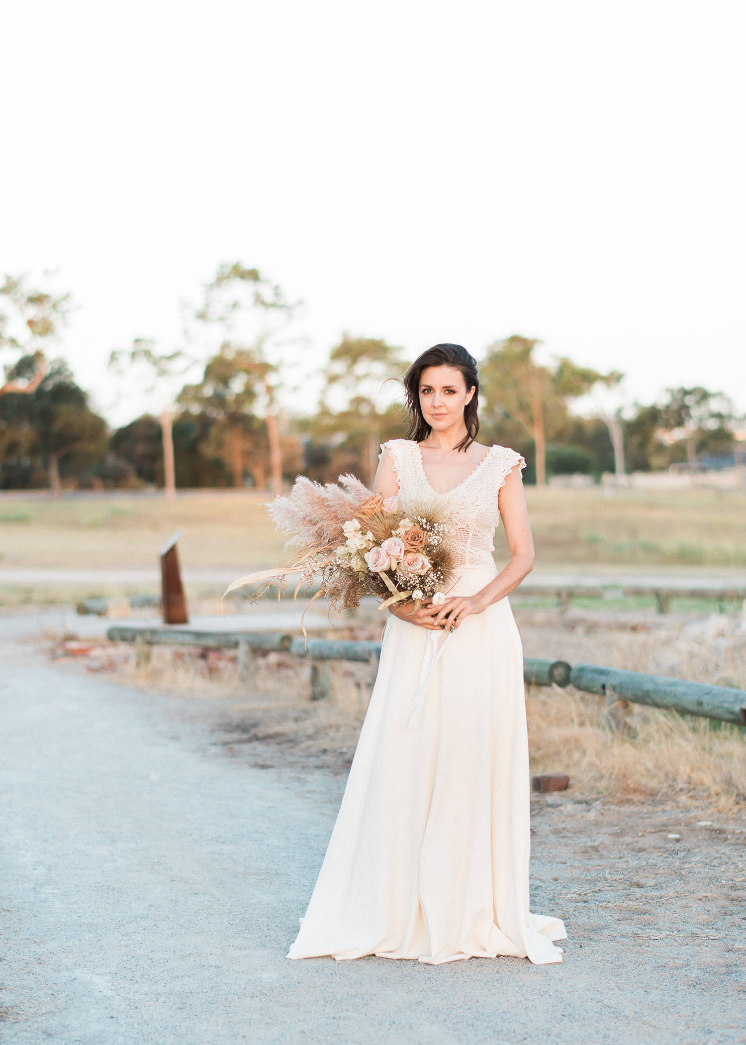 Beautiful bride portrait during sunset wedding in Perth at Perry's Paddock