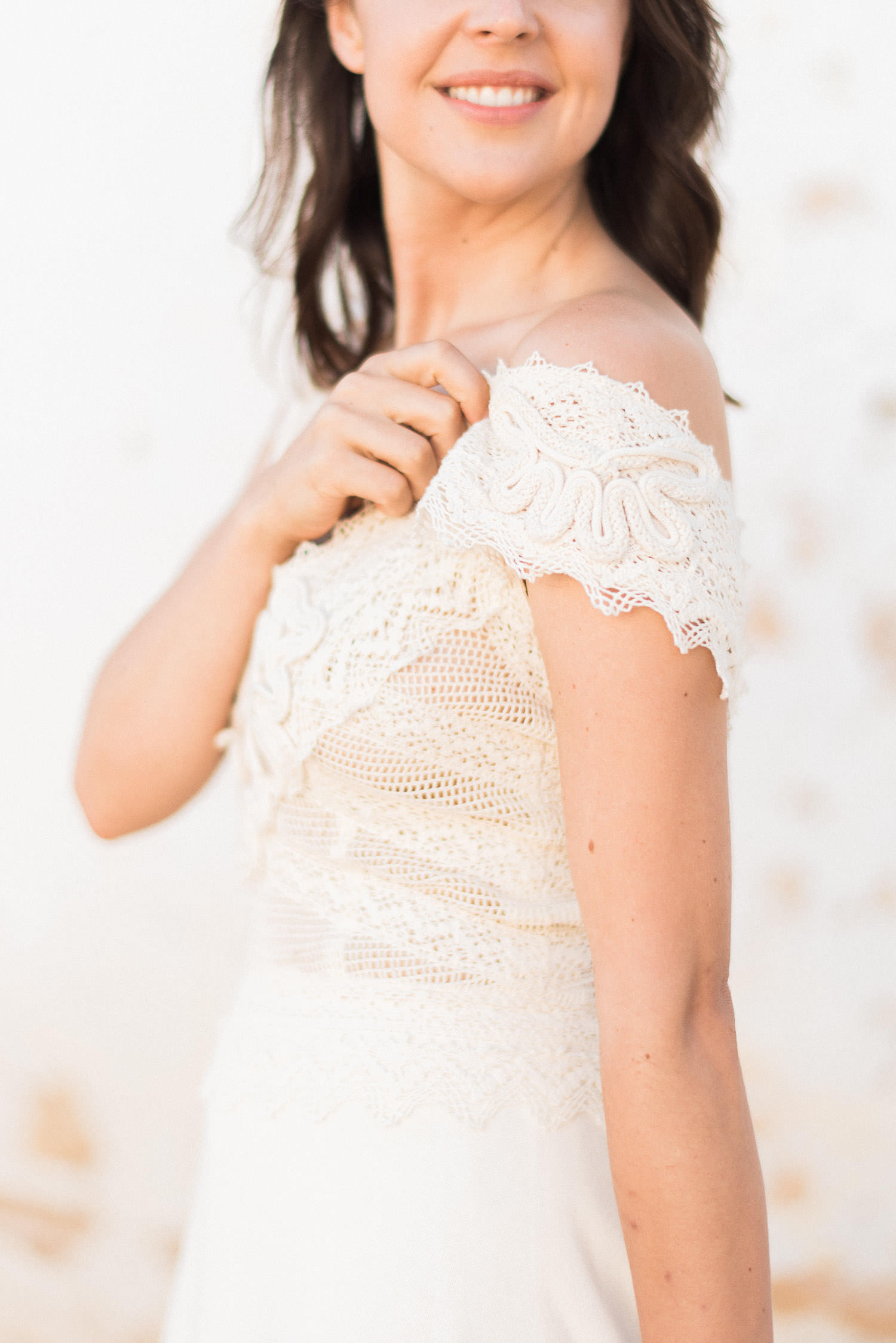 Close up shot of wedding dress by Zolotas Australia at Perth elopement