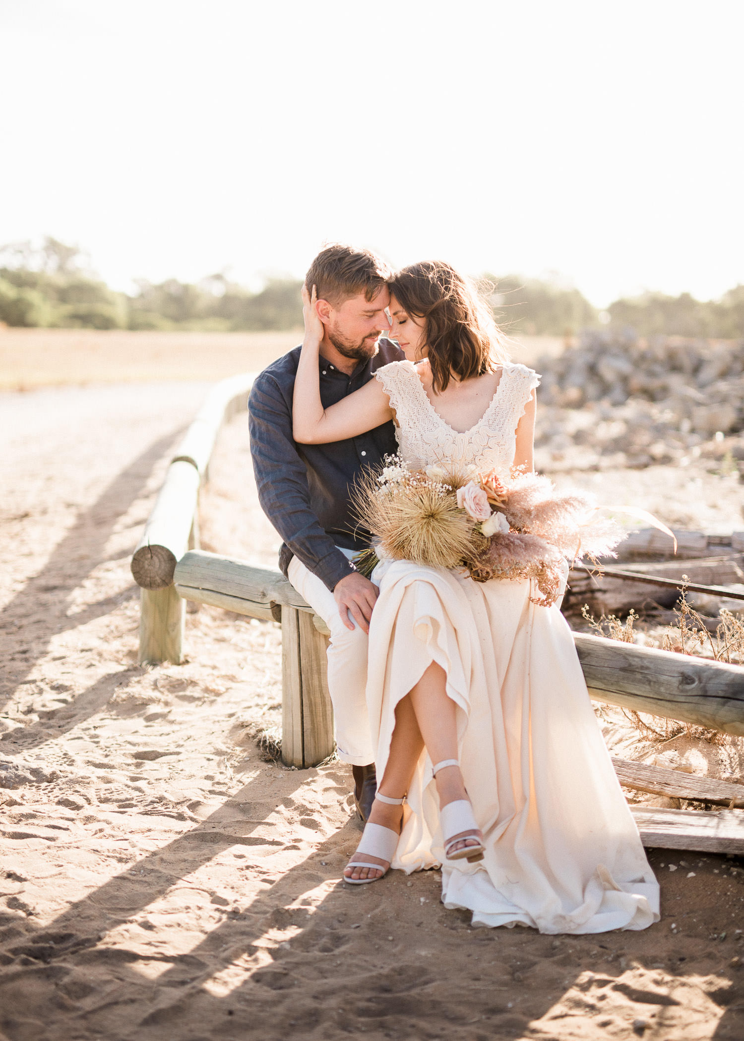 Noah and Jasmine pose during elopement at Perry's Paddock in Perth