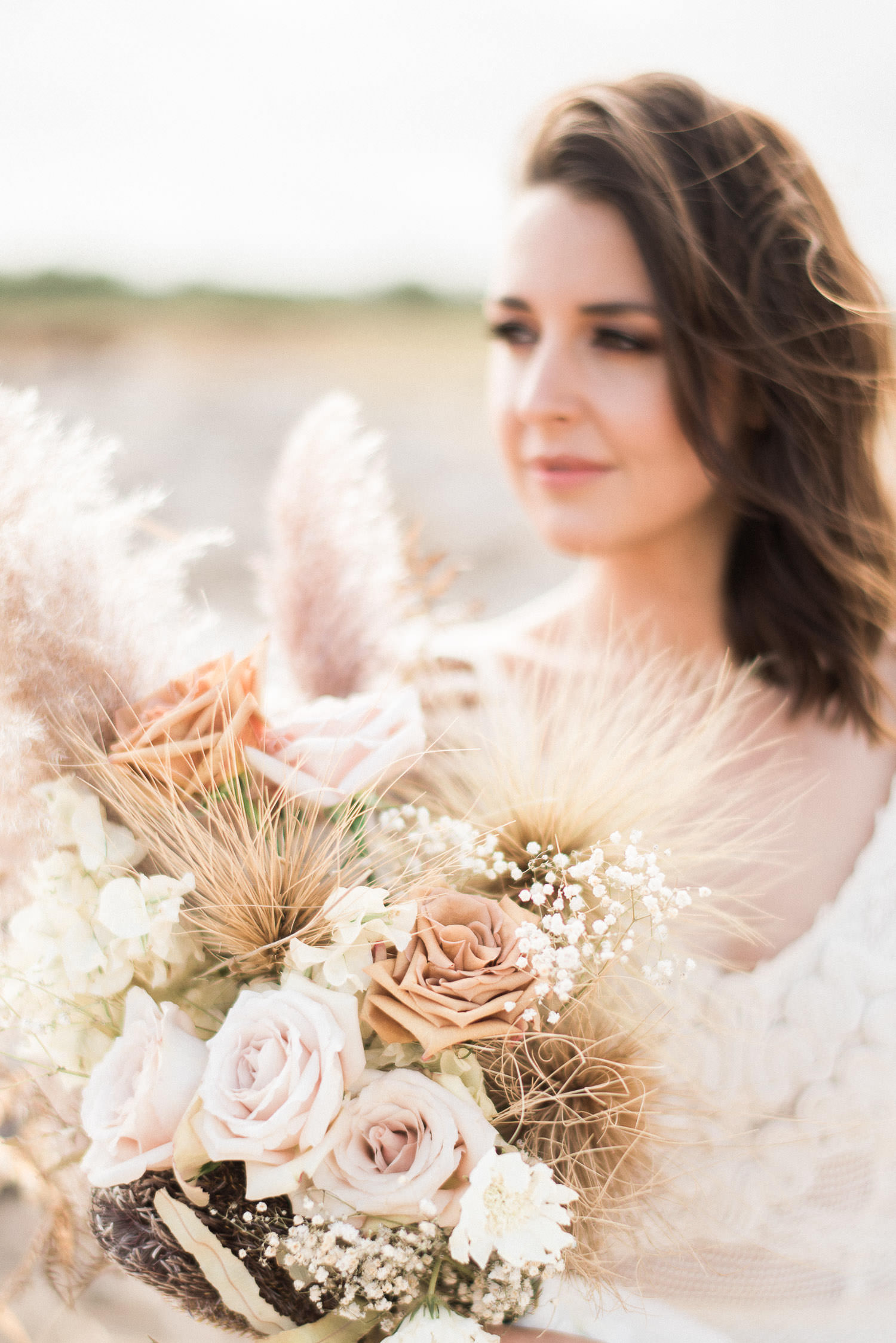 Dried flowers in bouquet for Elopement in Perth