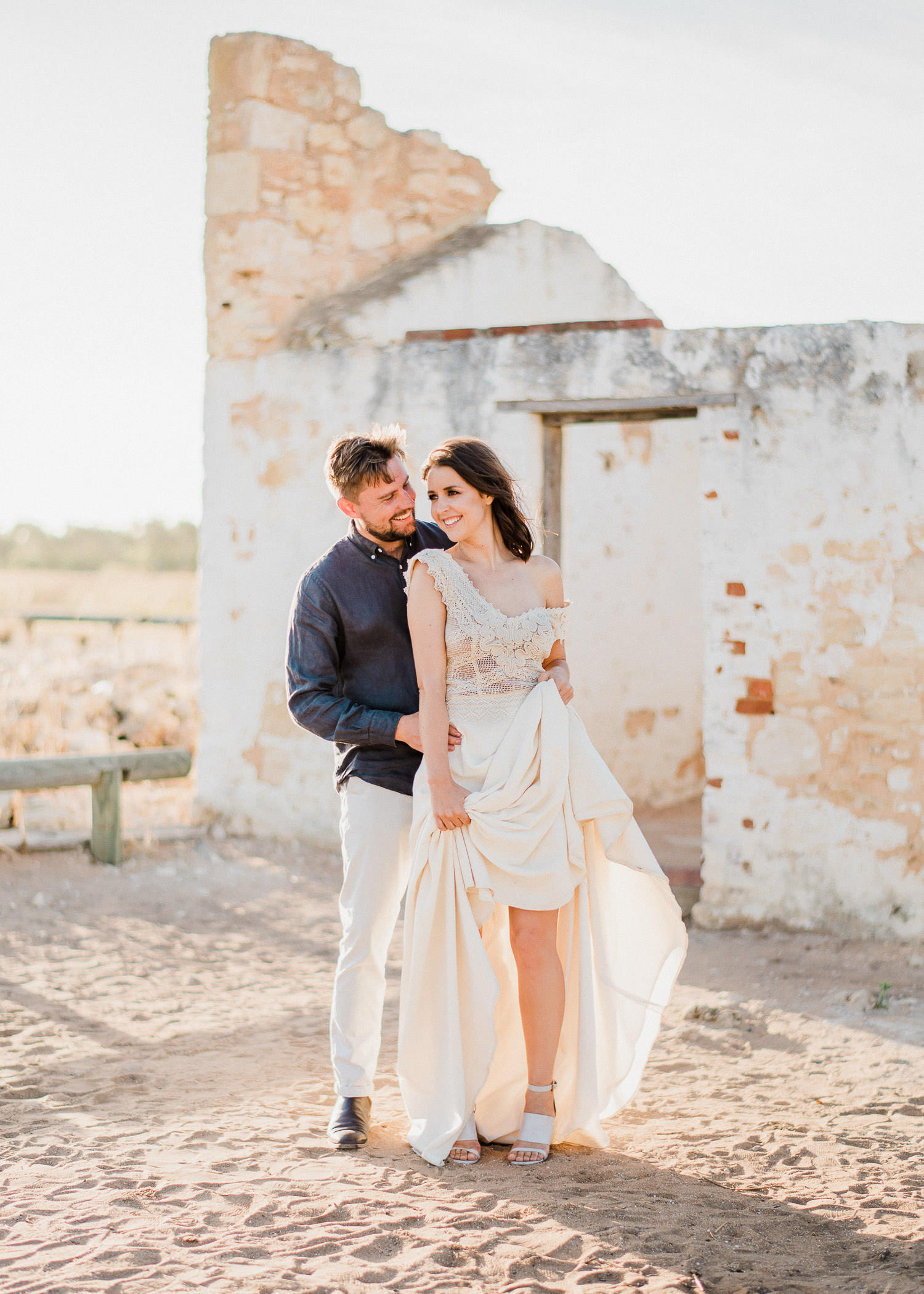 Couple pose during wedding at Perry's Paddock in Perth