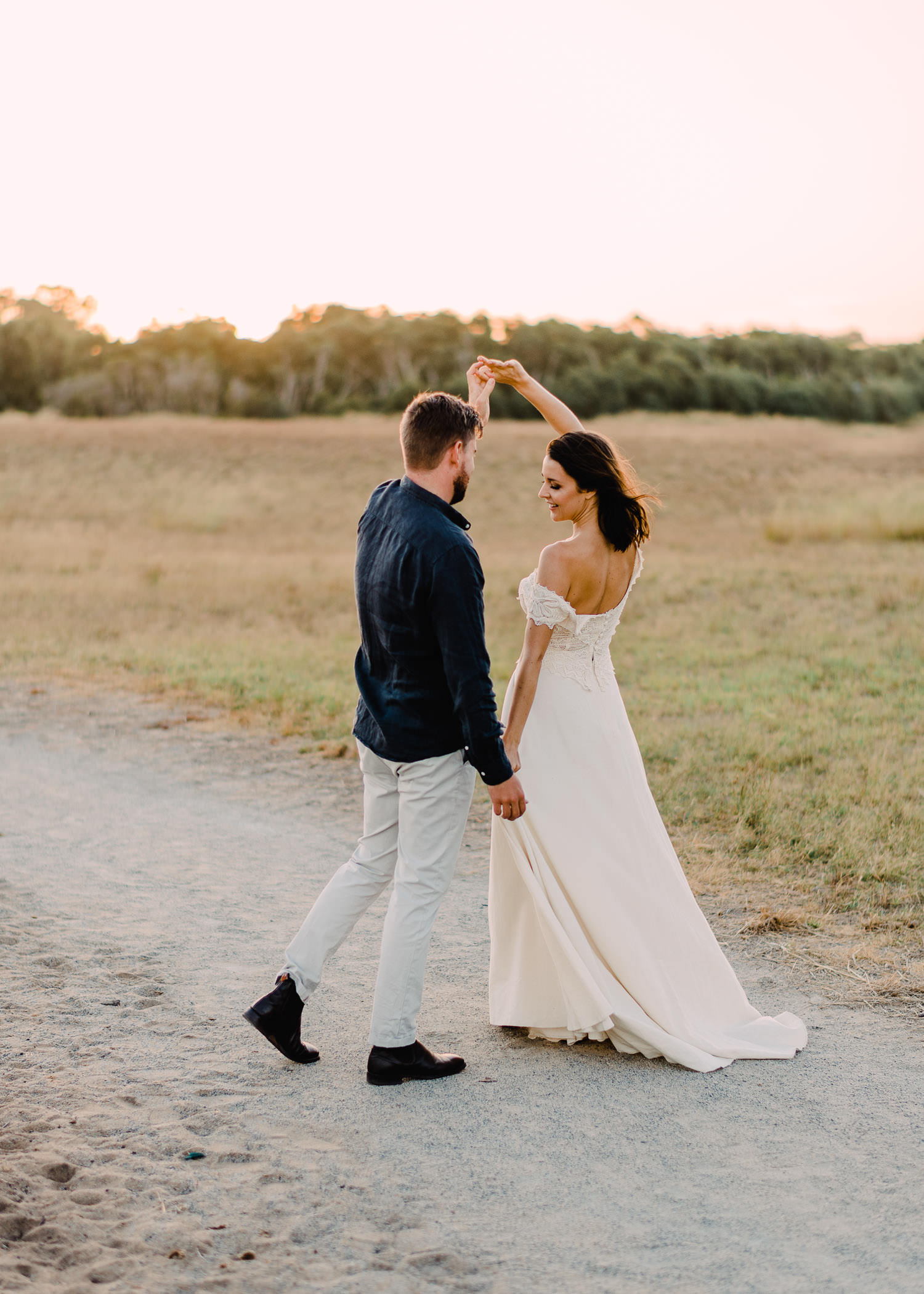 Couple dancing into the sunset during wedding at Perry's Paddock Perth
