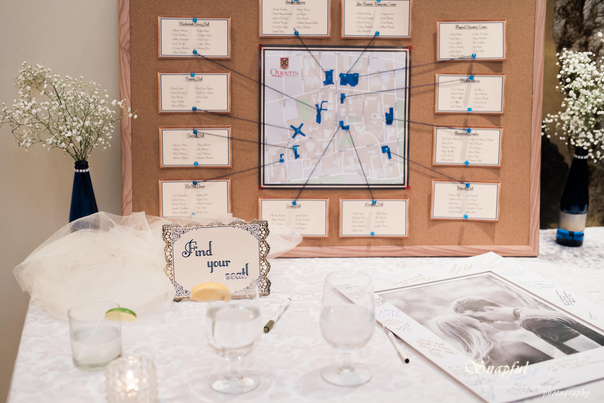 Wedding seating chart at Rosewater Toronto