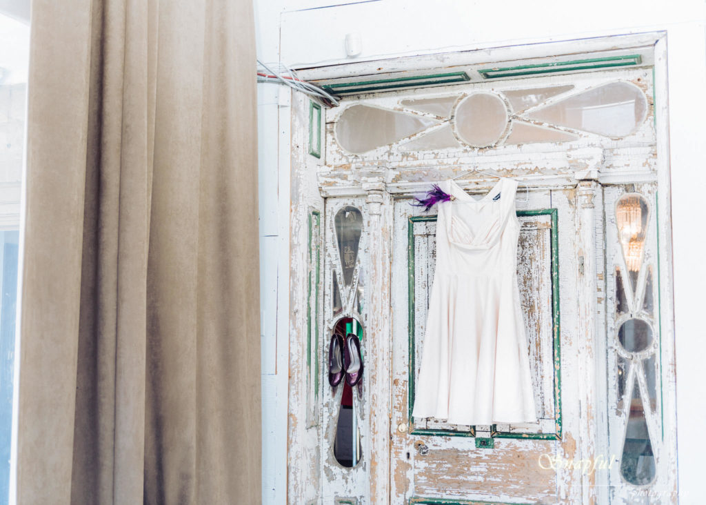 wedding dress hung