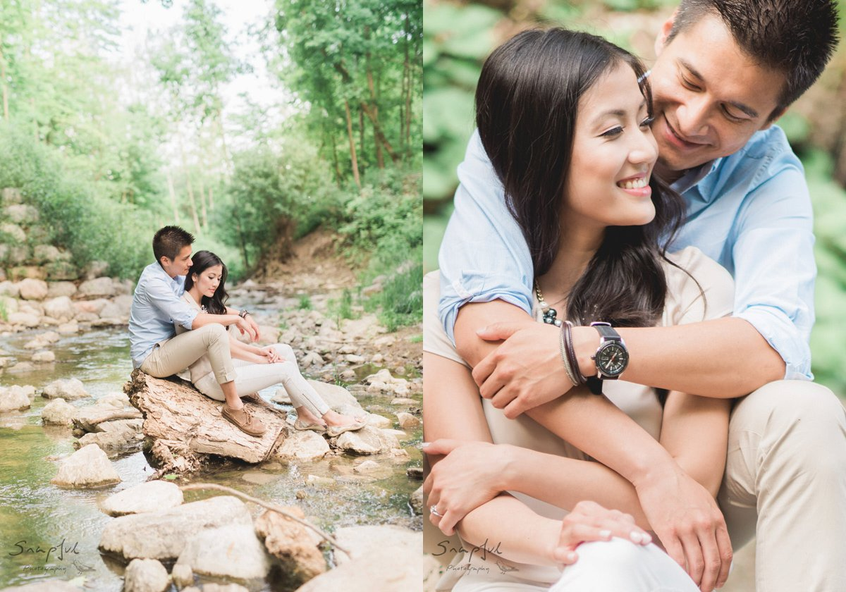 Romantic couple sitting on rocks in a river