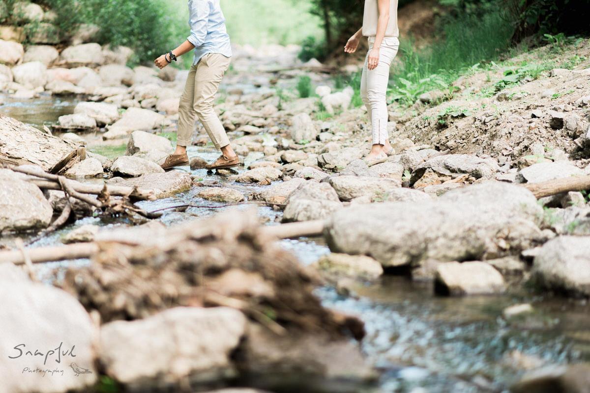Running across rocks