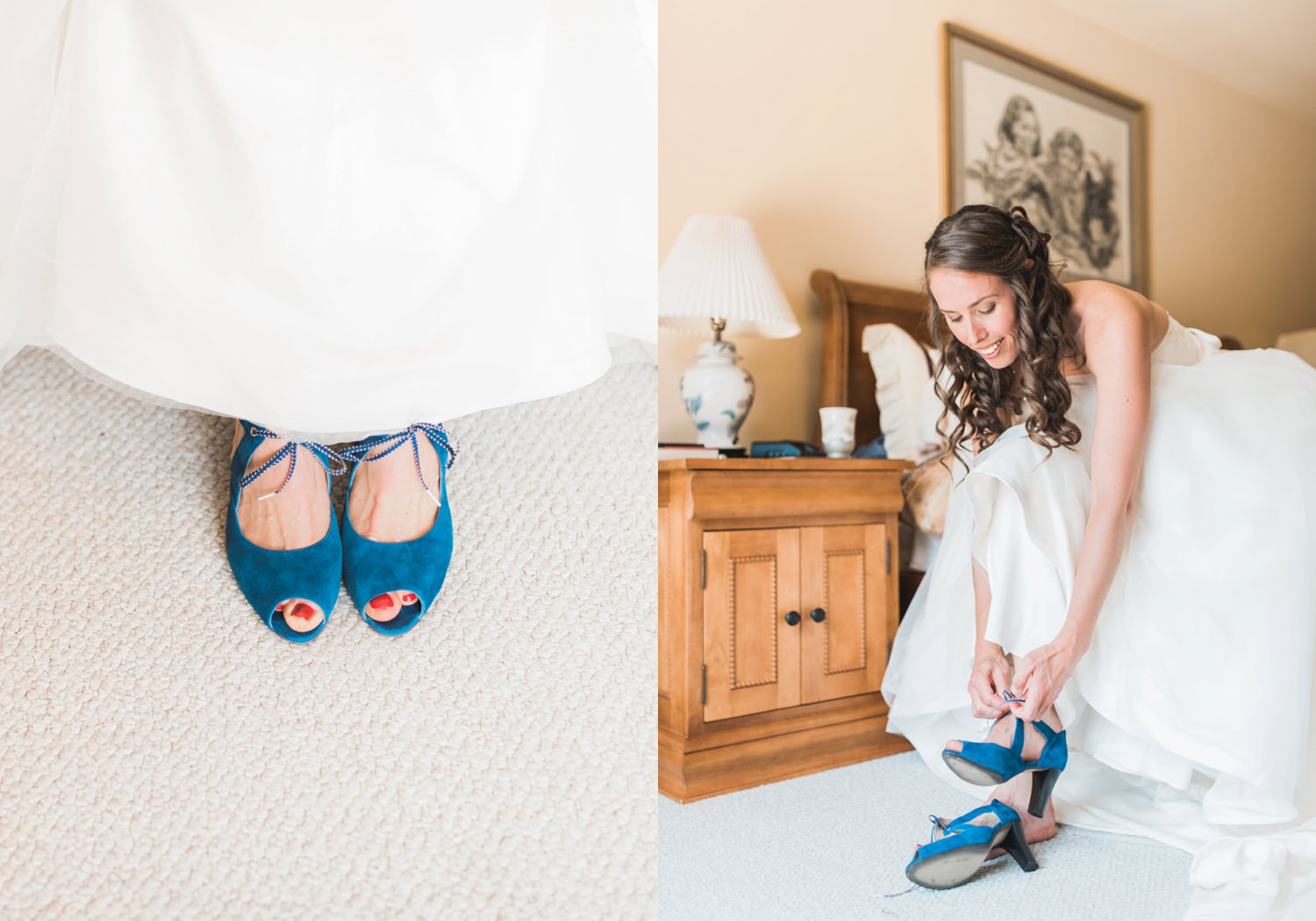 Bride slipping on her wedding shoes