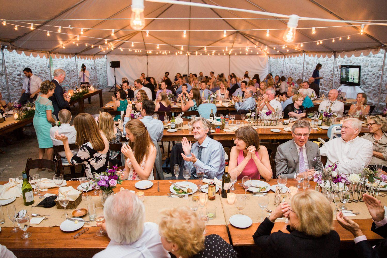 Crowd roars after a speech at Alton Mill wedding
