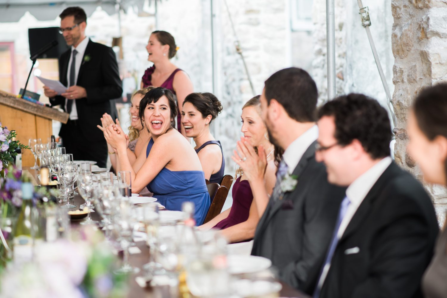 Bridesmaid reacts to a joke at Alton Mill