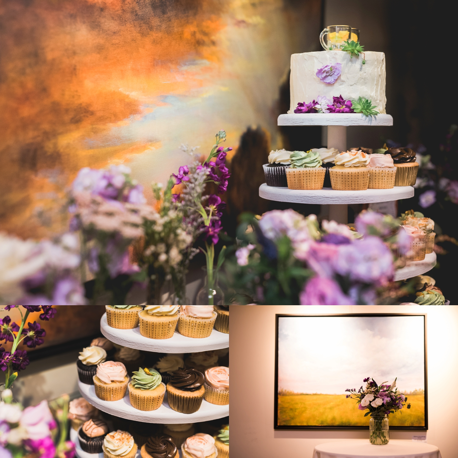 Cupcake and painting at Alton Mill wedding