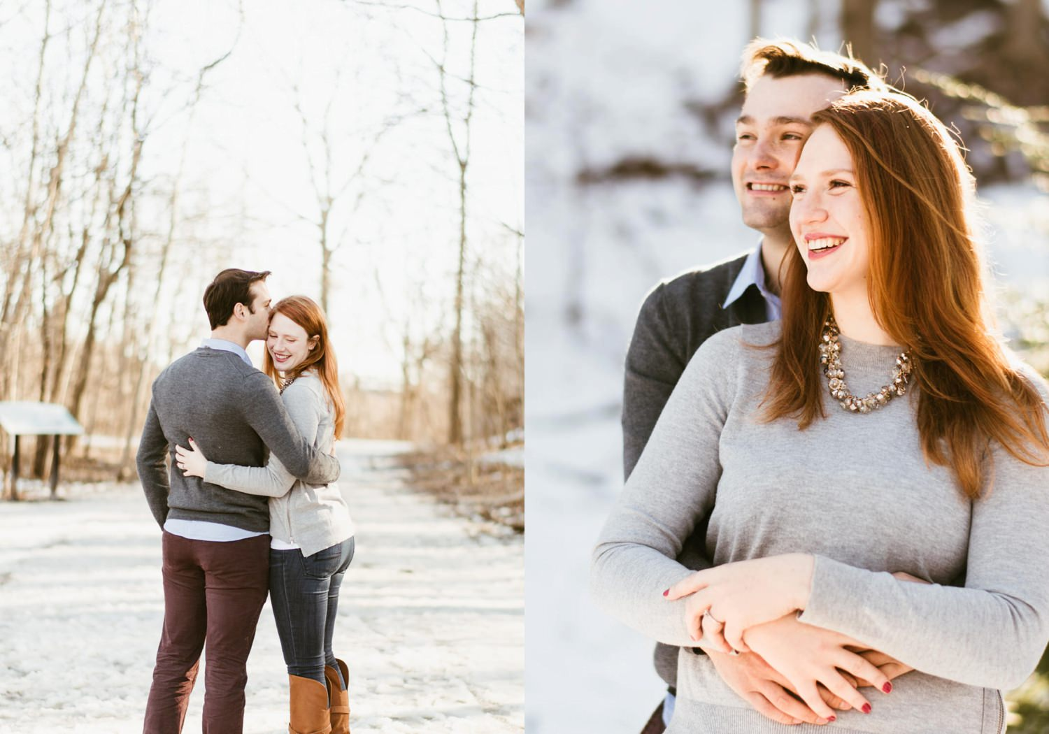 Matt hugging Isabel during engagement shoot in Toronto