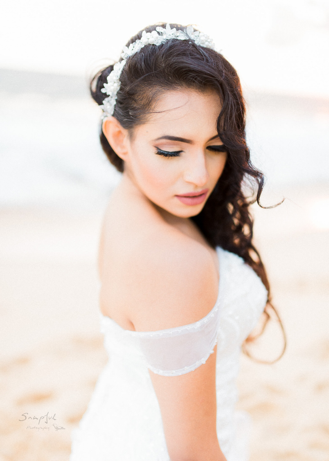 Portrait of bride on Unawatuna Beach in Sri Lanka