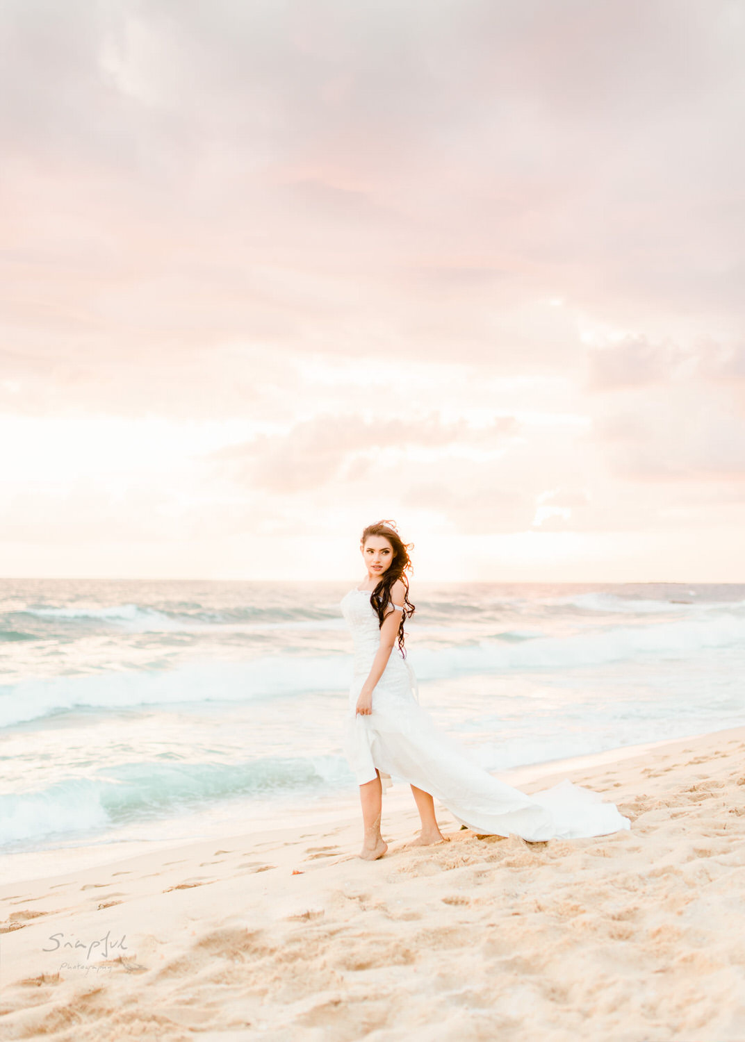 Epic portrait of bride posing at sunset on beach in Sri Lanka