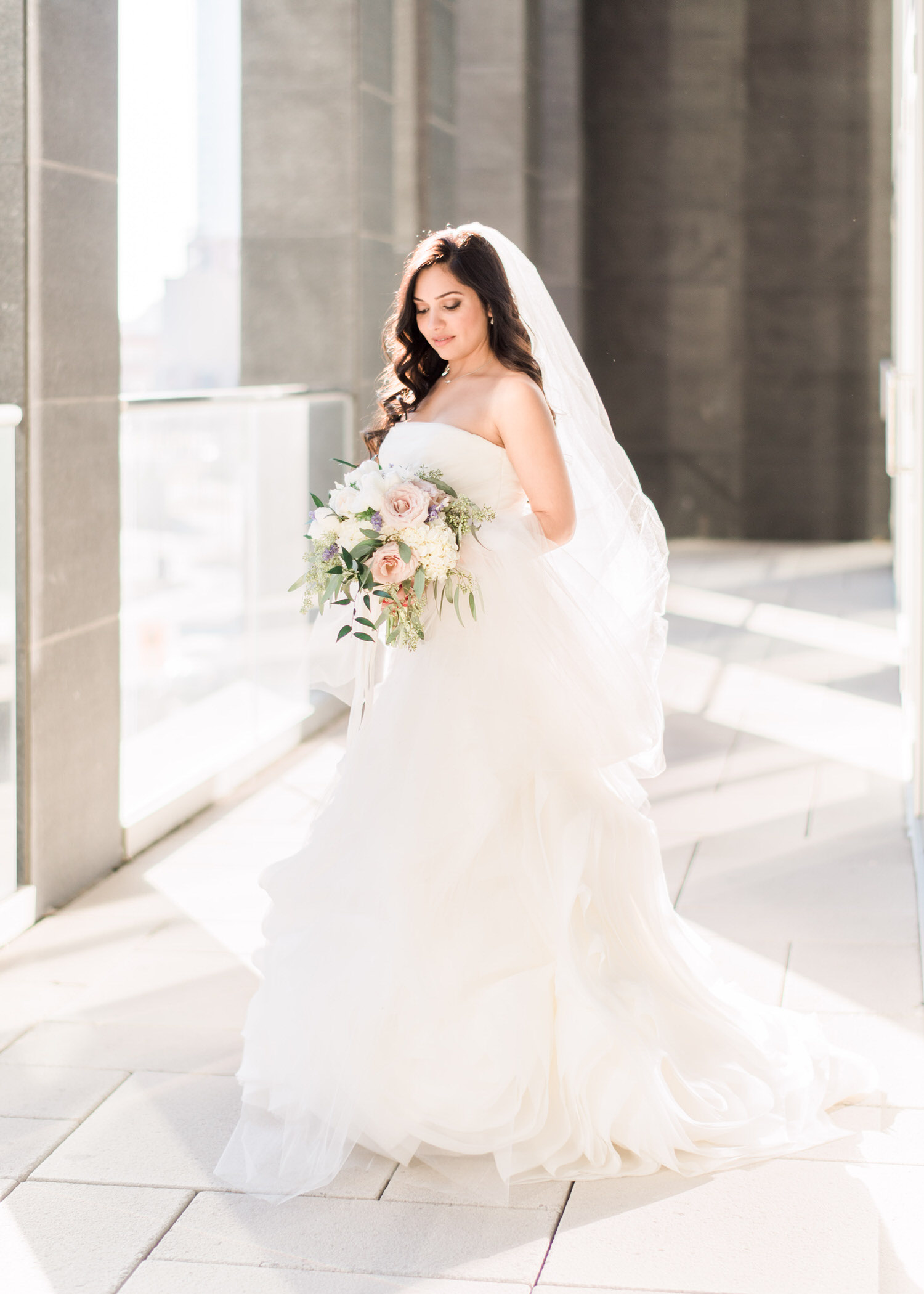 Light and airy portrait of bride before her Toronto elopement at Delta hotel