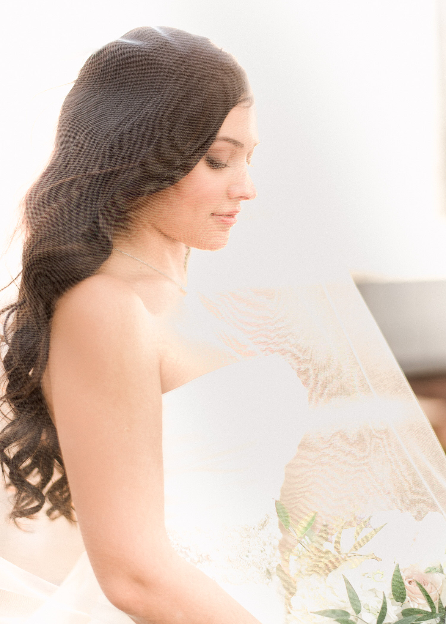 Side portrait of bride at Delta hotel in Toronto