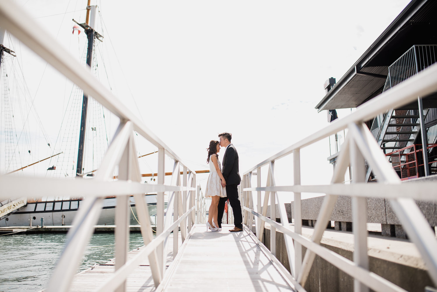 Wide angle shot of couple through a ramp at Harbourfront Toronto