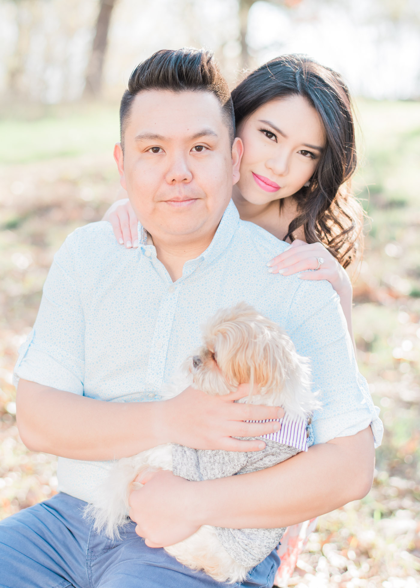 Engagement shoot with their dog at High Park in Toronto
