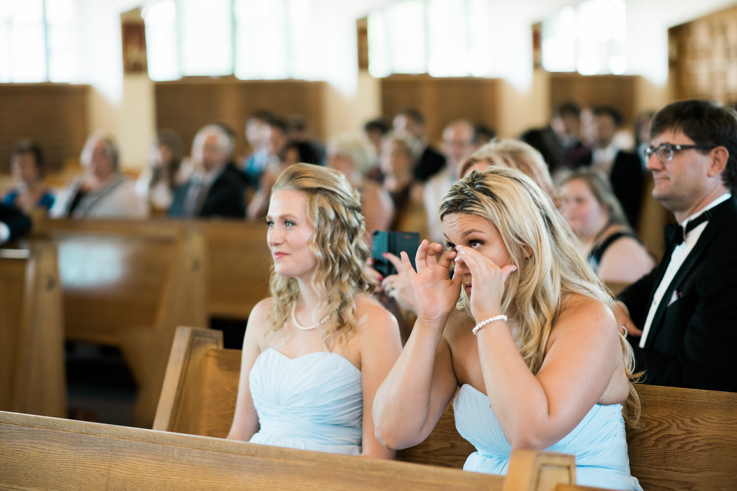 bridesmaid cries during Toronto church ceremony