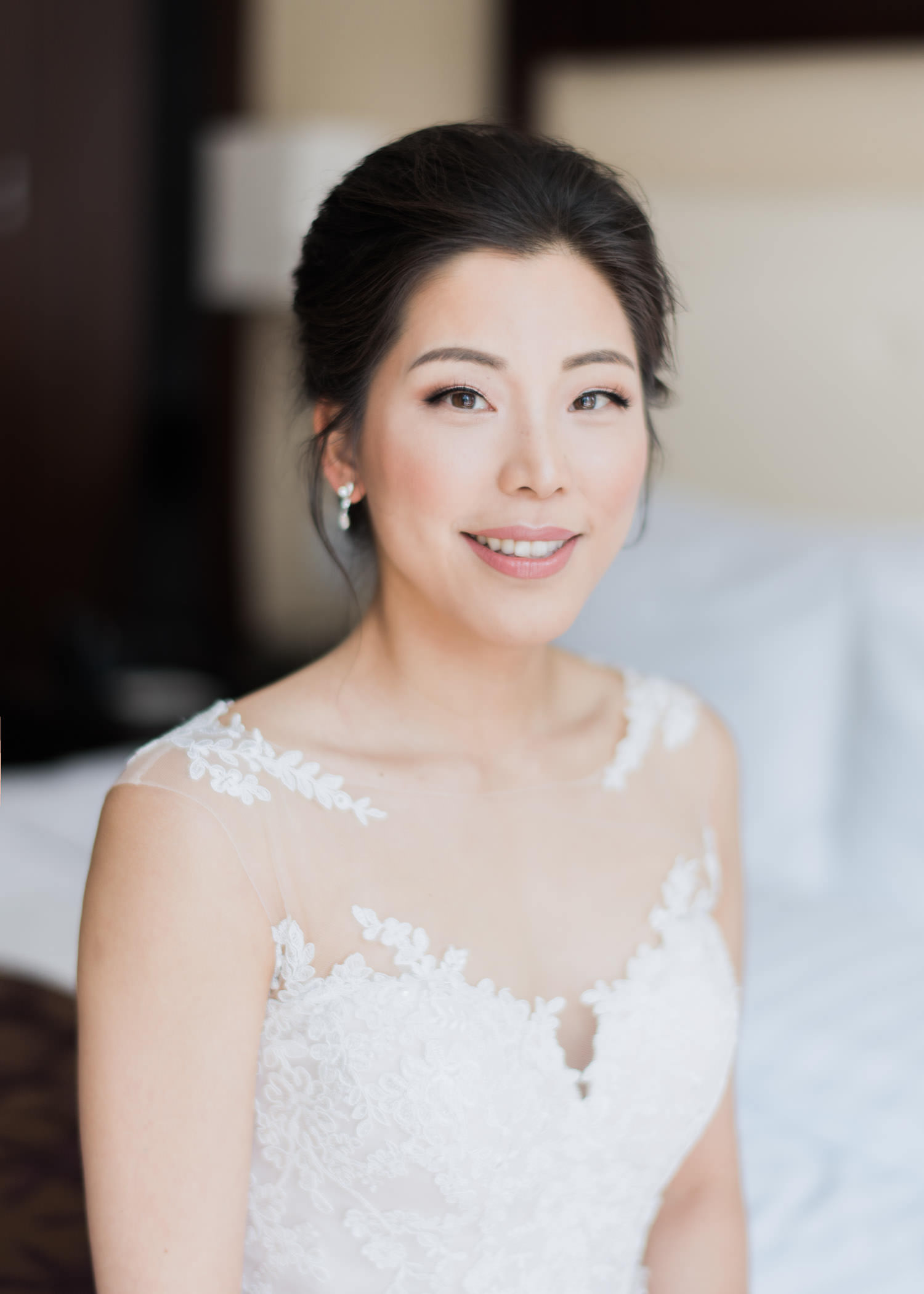 Portrait of bride at Shangri-La Hotel in Toronto