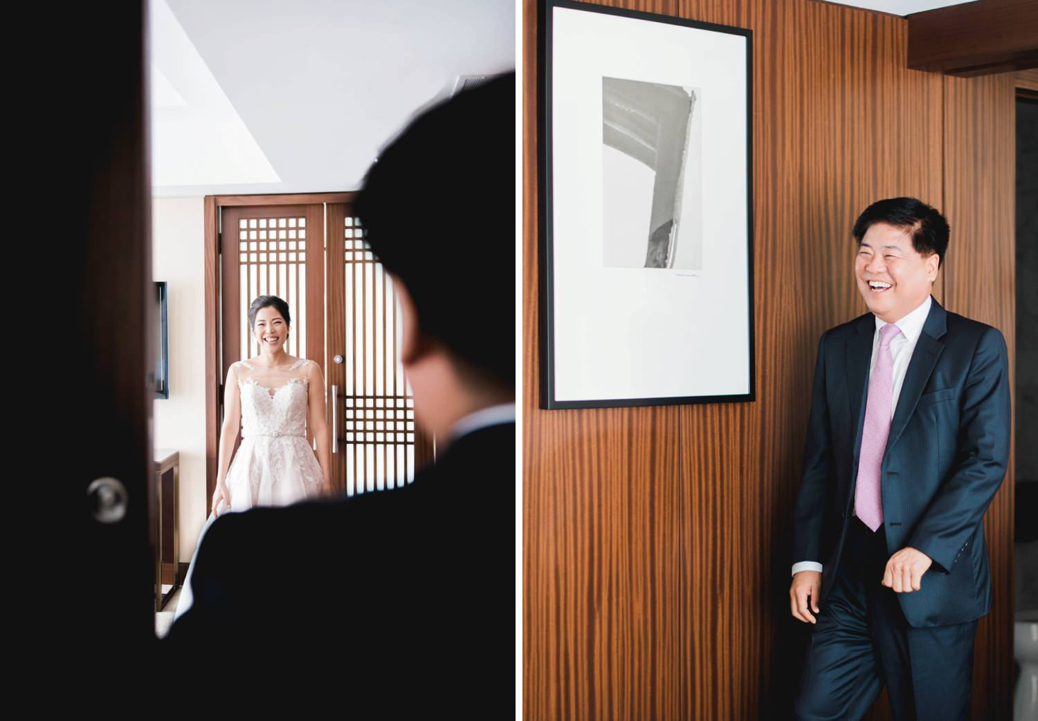 First look between father and bride at Shangri-La Hotel in Toronto