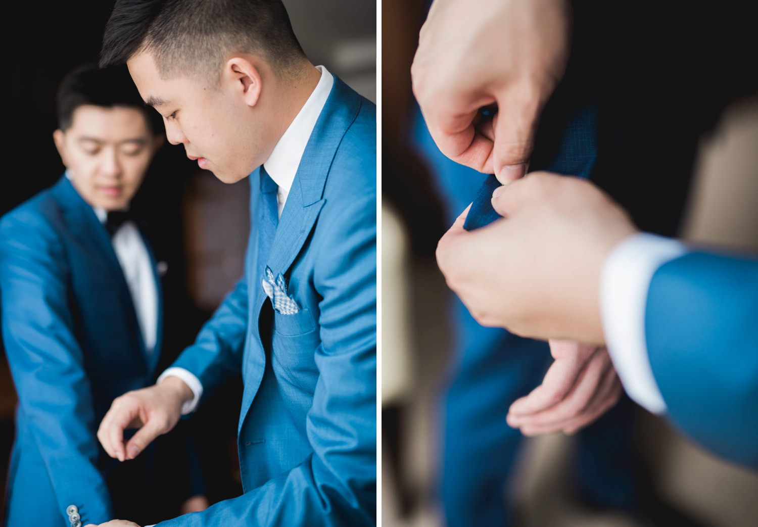 Best man helping groom with his jacket at Shangri-La Hotel in Toronto