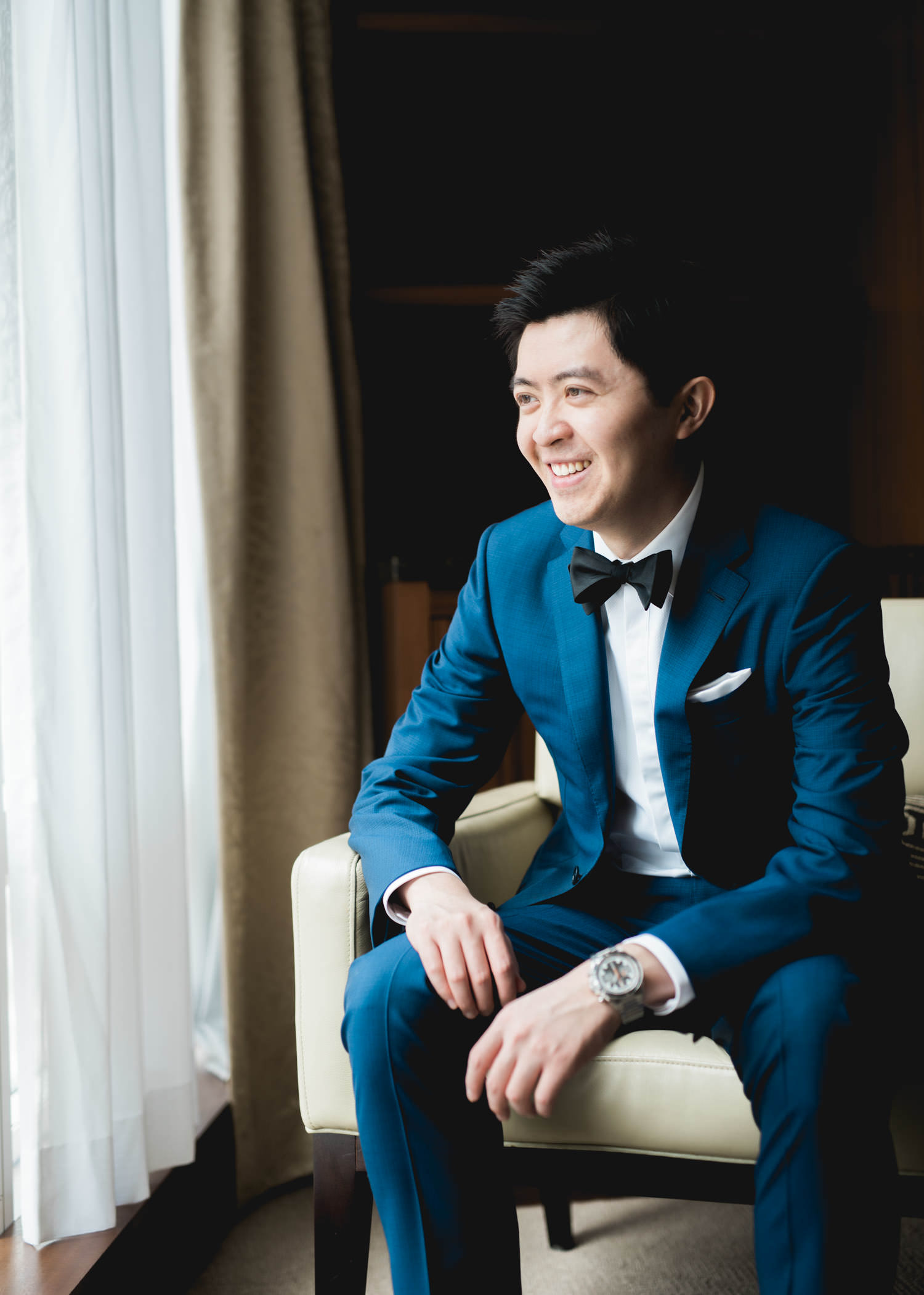 Portrait of groom at Shangri-La Hotel in Toronto