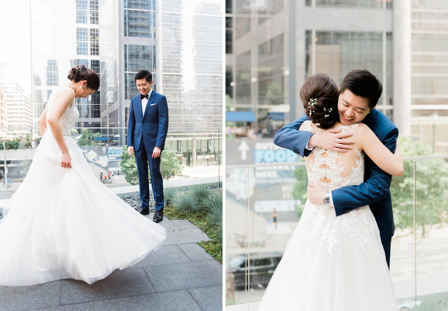 Bride and groom's first look at Shangri-La Hotel in Toronto
