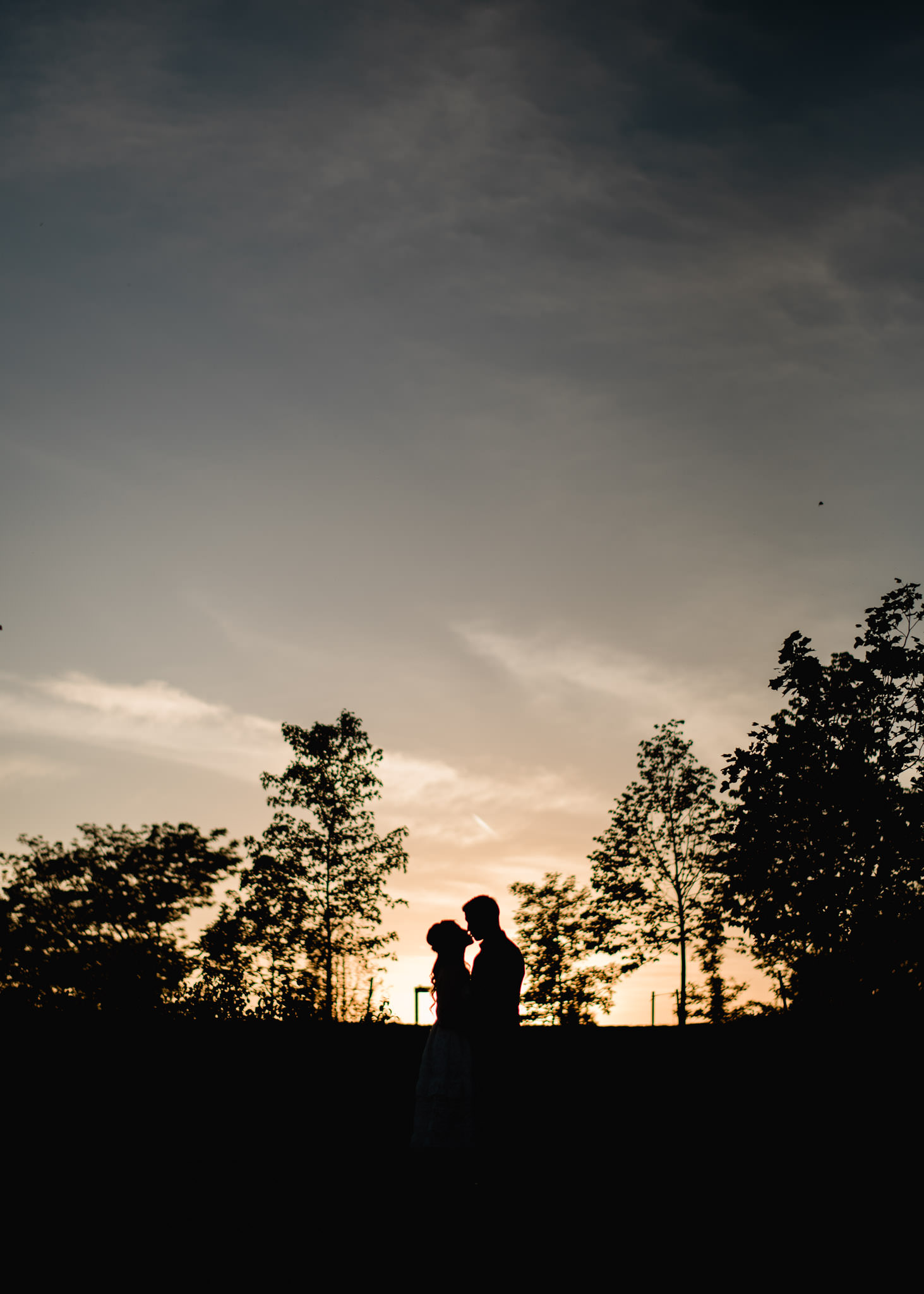 Silhouette portrait of couple kissing at sunset at Trillium Park during engagement session
