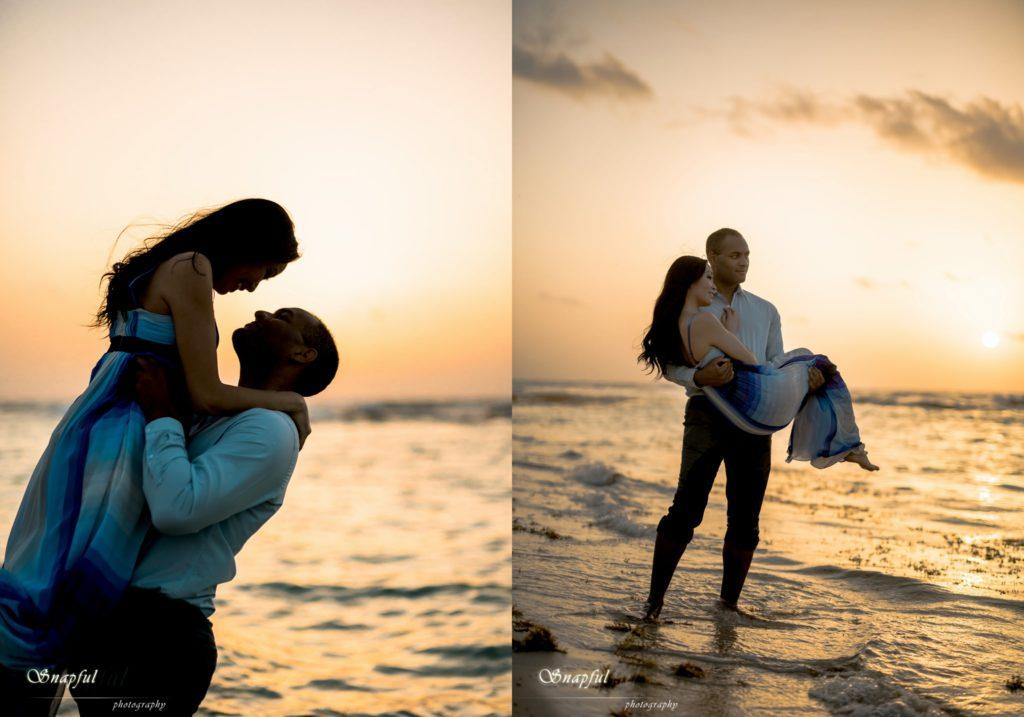 Romantic couple at sunrise in Mexico