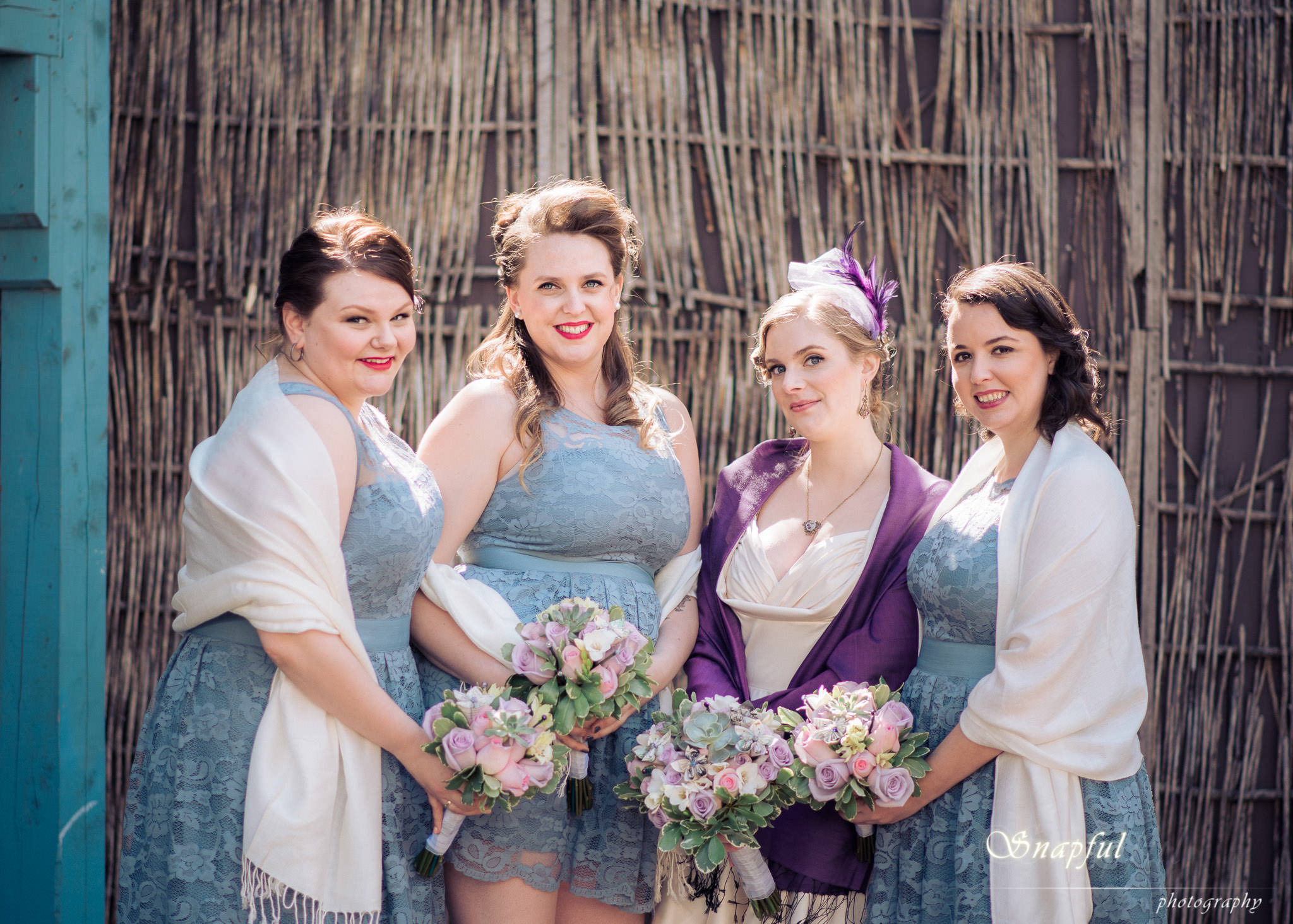 beautiful bridesmaid with bouquets
